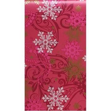 Obrázek Balící papír Vánoční - vínový a vločky - 10 m