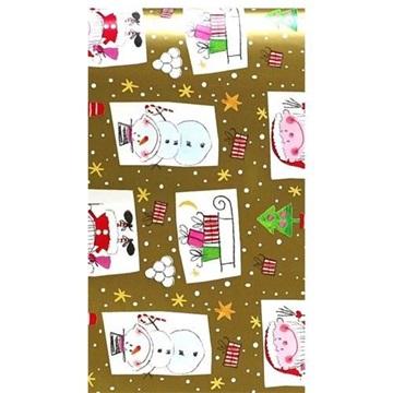 Obrázek Balící papír Vánoční - sněhulák a skřítek zlatý - 10 m