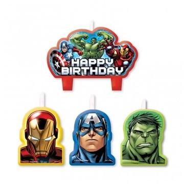 Obrázek Dortové svíčky Avengers Happy Birthday 4 ks
