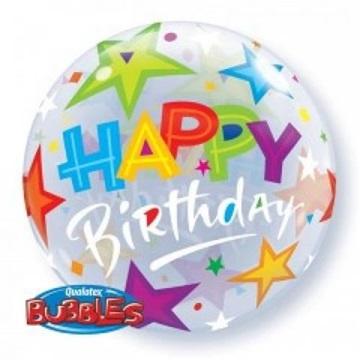 Obrázek Foliová bublina Happy Birthday hvězdy 56 cm
