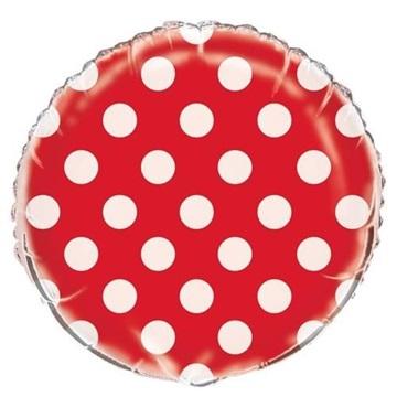 Obrázek Foliový balonek červený s puntíky 45 cm