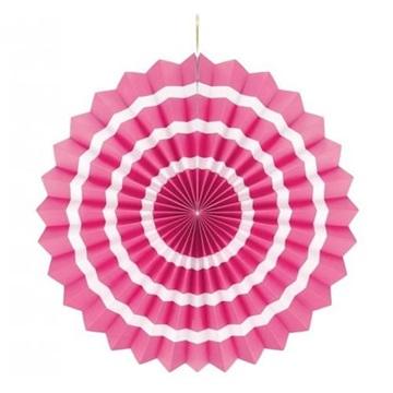 Obrázek Dekorační rozeta růžová s bílými proužky 40 cm