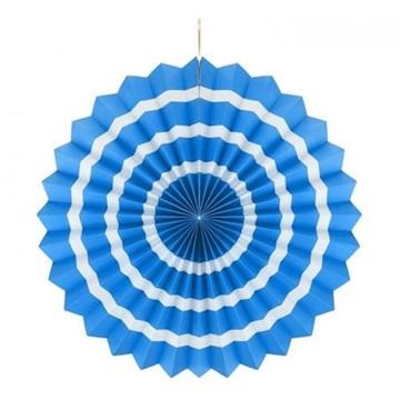 Obrázek Dekorační rozeta modrá s bílými proužky 40 cm