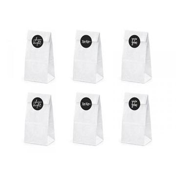 Obrázek Dárkové papírové pytlíčky bílé 8 x 8 x 6 cm - 6 ks
