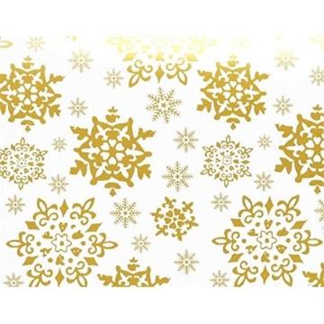 Obrázek Balící papír Vánoční - bílý a zlaté vločky - 10 m