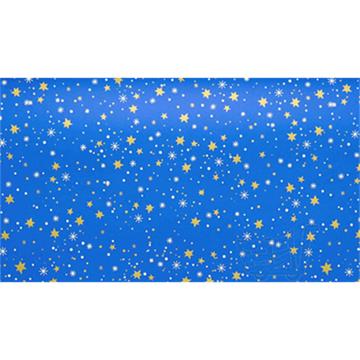Obrázek Balící papír Vánoční - modrý a zlaté hvězdy - 10 m