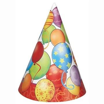 Obrázek Papírové čepičky Birthday balloons 8 ks