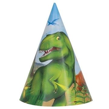 Obrázek Papírové čepičky dinosaur 8 ks