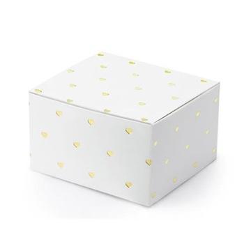 Obrázek Dárková svatební krabička bílá se srdíčky - 1 ks