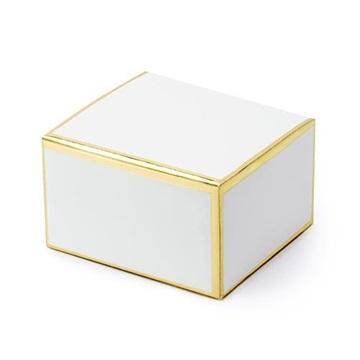 Obrázek Dárková svatební krabička bílá se zlatými okraji - 1 ks