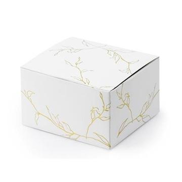 Obrázek Dárková svatební krabička bílá se zlatými lístky - 1 ks