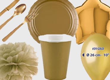 Obrázek pro kategorii Party dekorace a stolování - zlatá barva