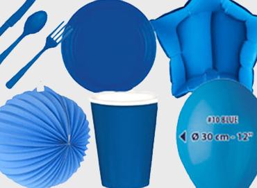 Obrázek pro kategorii Party dekorace a stolování - modrá barva