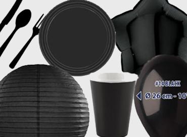 Obrázek pro kategorii Party dekorace a stolování - černá barva