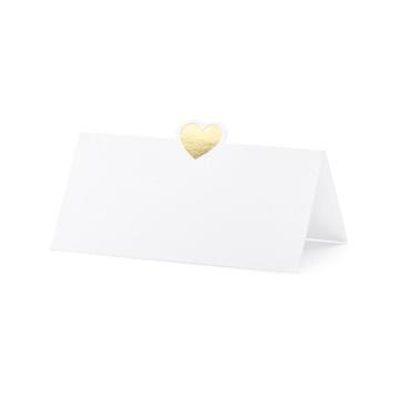 Obrázek Jmenovky ke svatebnímu stolu se zlatým srdíčkem 10 ks