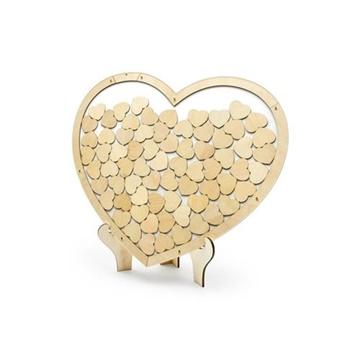 Obrázek Svatební kniha hostů dřevěná - srdce