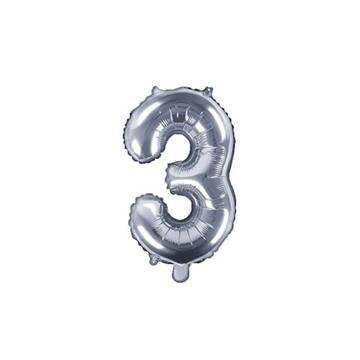 Obrázek Foliová číslice - stříbrná 3 - 35 cm