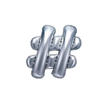 Obrázek Foliový symbol Hashtag stříbrný 35 cm