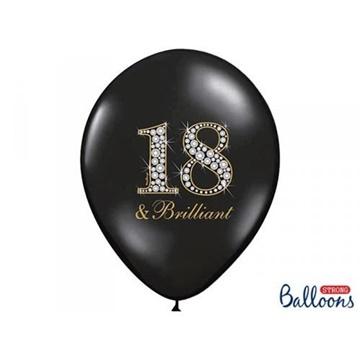 Obrázek Latexový balonek černý s číslem 18 brilliant