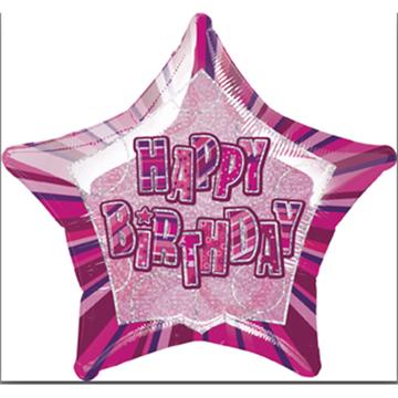Obrázek Foliový balonek Hvězda Happy Birthday růžová 51cm