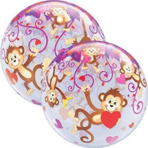 Obrázek z Foliová bublina Opičky se srdíčky 56 cm