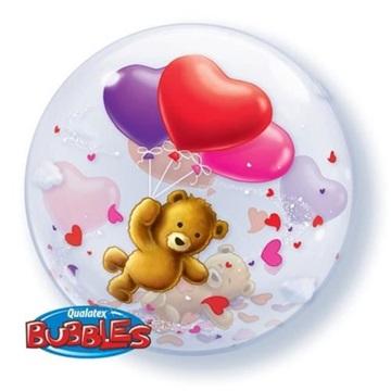 Obrázek Foliová bublina Medvídek se srdíčky 56 cm