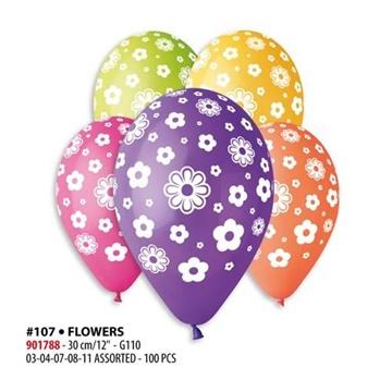 Obrázek Latexový balonek s potiskem Květy