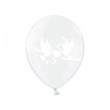Obrázek Latexový balonek průhledný se srdíčkem a holubicemi 33 cm