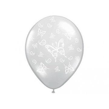 Obrázek Latexový balonek průhledný s motýlky 41 cm