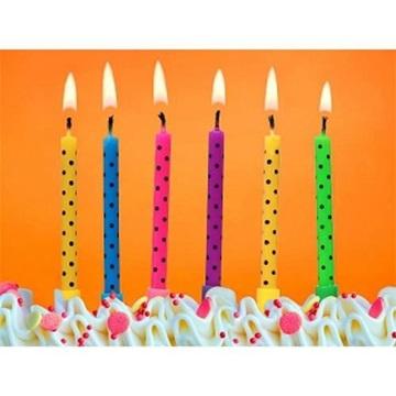 Obrázek Dortové svíčky barevné s tečkami