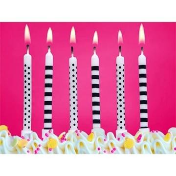 Obrázek Dortové svíčky Black and White 6 ks - proužky a tečky