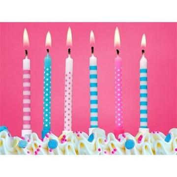 Obrázek Dortové svíčky Pinky blue 6ks