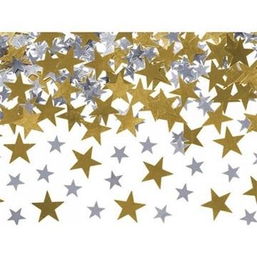 Obrázek Konfety hvězdičky  - zlaté a stříbrné