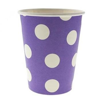 Obrázek Papírové kelímky fialové s puntíky 6 ks