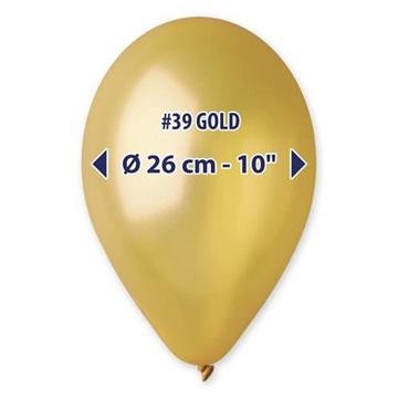 Obrázek Metalické balonky 26 cm - zlaté 100 ks