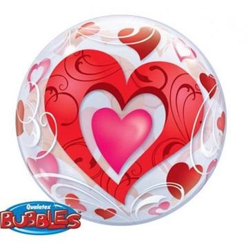 Obrázek Foliová bublina Červená srdce s ornamenty 56 cm