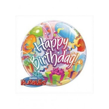 Obrázek Foliová bublina Happy Birthday s balonky 56 cm