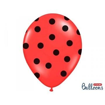 Obrázek Latexový balonek červený s černými puntíky 36 cm