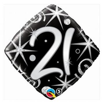 Obrázek Foliový balonek černý 21 let - 46 cm