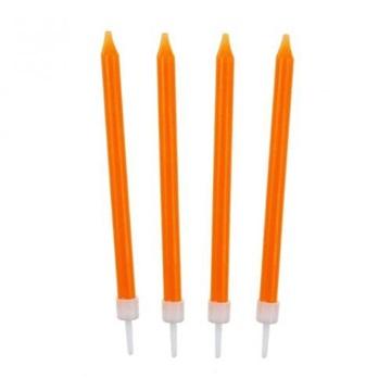 Obrázek Barevné svíčky na dort oranžové 10 ks