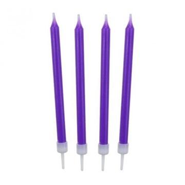 Obrázek Barevné svíčky na dort fialové 10 ks