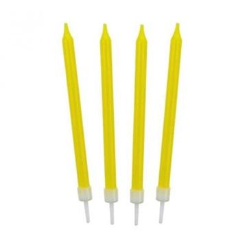 Obrázek Barevné svíčky na dort žluté 10 ks