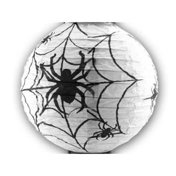 Obrázek Halloweenský lampion kulatý pavučina bílý  20 cm
