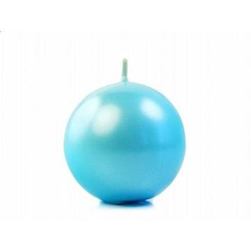 Obrázek Svíčka koule metalická 6 cm tyrkysová