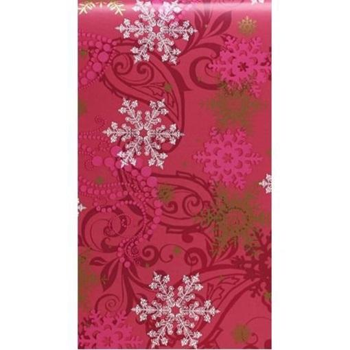 Obrázek z Balící papír Vánoční - vínový a vločky - 10 m
