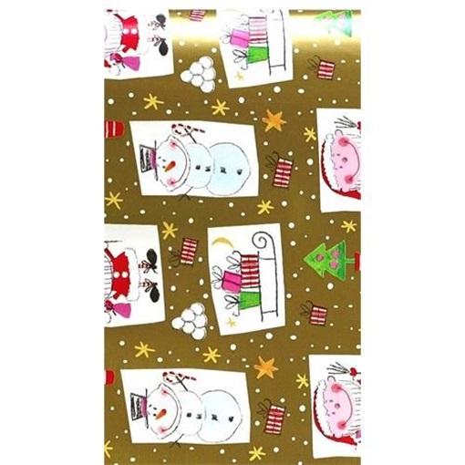 Obrázek z Balící papír Vánoční - sněhulák a skřítek zlatý - 10 m