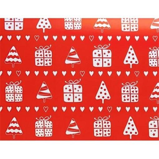 Obrázek z Balící papír Vánoční - Vánoční motiv červený - 10 m
