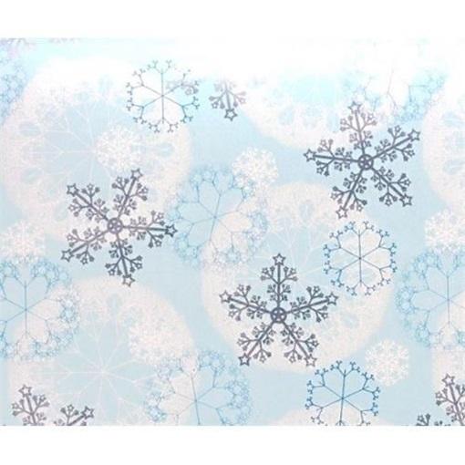 Obrázek z Balící papír Vánoční - modrý a vločky - 10 m