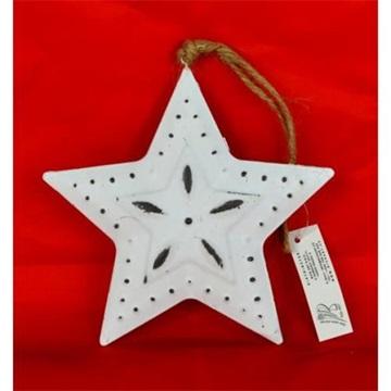 Obrázek Hvězda kovová závěsná bílá 15cm s dekorem