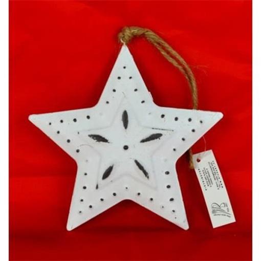 Obrázek z Hvězda kovová závěsná bílá 15cm s dekorem